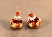 """Autumn Twist"" handmade lampwork glass earrings are perfect for corduroys and crisp fall days!"