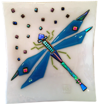 Glass Art Revealed Dragonfly fused plate